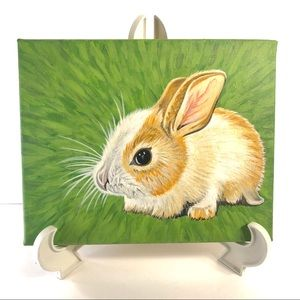 Cute Bunny Acrylic Painting with Green Background